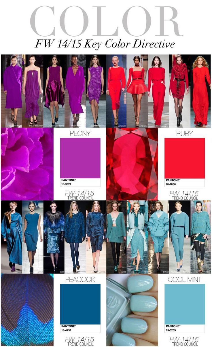 COLORS TRENDING : JEWEL TONES LIKE RUBY and PEONY and ALL SHADES OF BLUE FROM TEAL TO COOL MINT.  Trend Council:  FW 14/15 Key Color Directive
