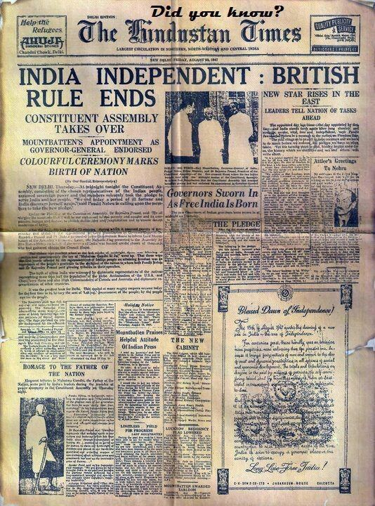 Rare photograph of  Hindustan Times  Newspaper when India  got its Independence…