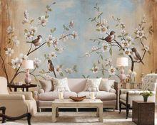 Aanpassen elke maat 3d woonkamer muurschilderingen behang, moderne bloem vogel perzik schilderen foto muurschilderingen behang voor muren 3d(China (Mainland))