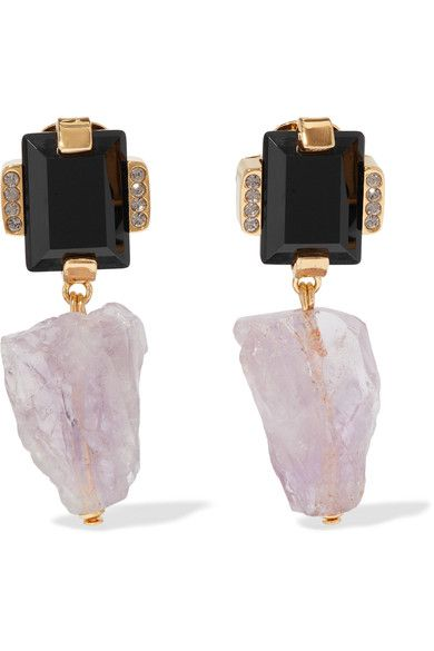 Marni | Amethyst, horn and crystal gold-tone clip earrings | NET-A-PORTER.COM