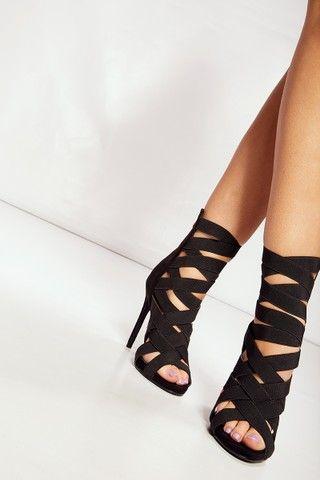 Regina Black Elastic Strap Heels