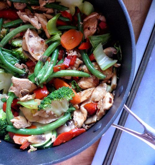 Honey soy chicken stir-fry with 7 vegetable