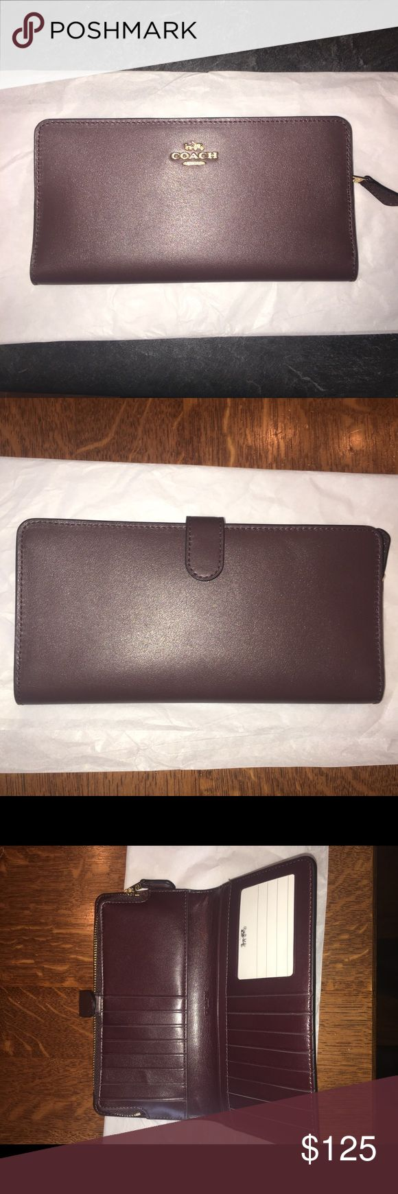 """Coach Skinny Wallet- Oxblood/Light Gold •Refined Calf Leather  •15 Credit Card Slots & ID Window •Full Length Bill Compartments •Zip Coin Pocket •Snap Closure  •7 3/4"""" (L) x 4"""" (H) New (never used)  No Trades/Will Accept Offers Coach Bags Wallets"""