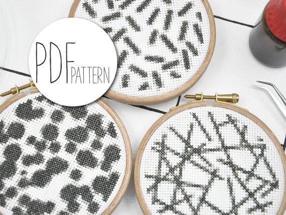 Cross stitch patronen borduren Microscoop set 3 moderne sjablonen van cross stitch, borduurwerk instructies bacteriën virussen haar schimmel pillen en schimmel