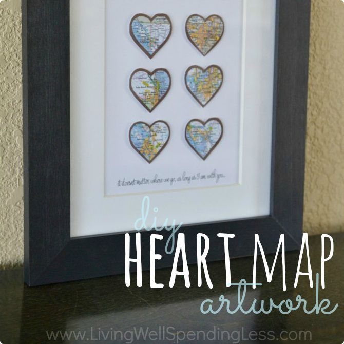 DIY Heart Map Artwork Square