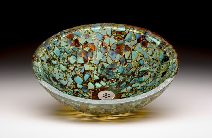 Cosmic Burst Glass Sink With Blues Greens Amber And Copper Colored Glass Fused Into A 1 Quot Thick