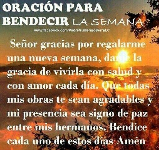Oración para bendecir la semana