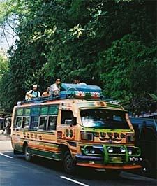 Bus, travelling to Medan from Berastagi.