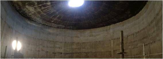 Tratamiento de impermeabilización al gas y protección del hormigón contra el H2S.  TRATAMIENTO: Aplicación de los productos #KOMSOL en cúpula y muros de hormigón armado desde el interior en Digestor de Estación Depuradora de Aguas Residuales