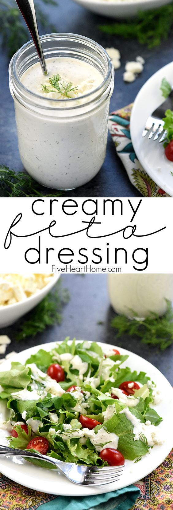 Creamy Feta Dressing ~ with Greek yogurt, crumbled feta cheese, and fresh dill, this homemade dressing is a delicious complement to salads, tomatoes, cucumbers, and more! | FiveHeartHome.com