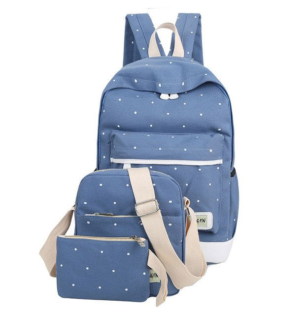 3Pcs/Lot High Quality Durable School bag for Students Fashion Canvas School Bags for Teenagers Girls With Shoulder bag+Handbag