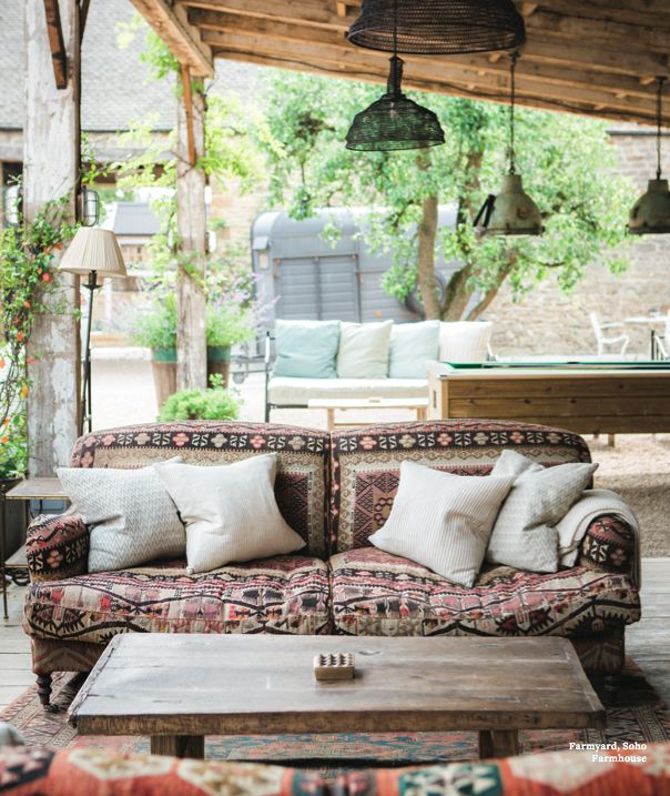 Noon | George Smith Kilim Sofa at Soho Farmhouse. Picking Patterns For A Living Space. Choosing and committing to a pattern isn't easy. Here our interior designer, Vicky Charles provides some pointers. #MorningNoonNight by Soho House