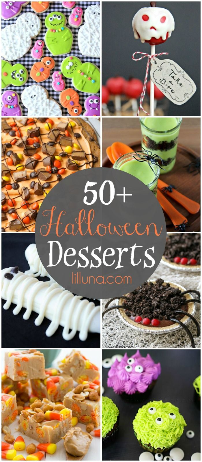 A roundup of 50+ delicious and festive Halloween desserts!! Cupcakes, cookies, pies, and more! Check it out on { lilluna.com }
