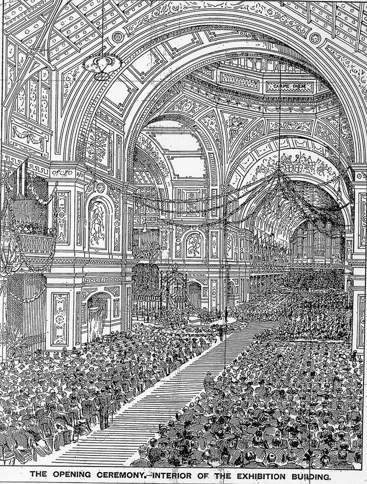 The Age newspaper 10th May.1901. Artist's drawing of the interior of the Exhibition Building Melbourne Australia on Federation Day