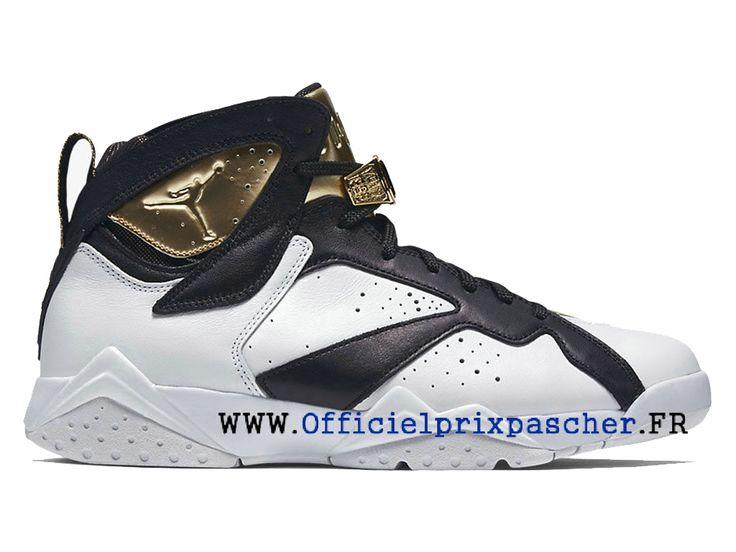Air Jordan 7 Retro Chaussures Basketball Bon marché Pour Homme Blanc / Noir  / Or 725093
