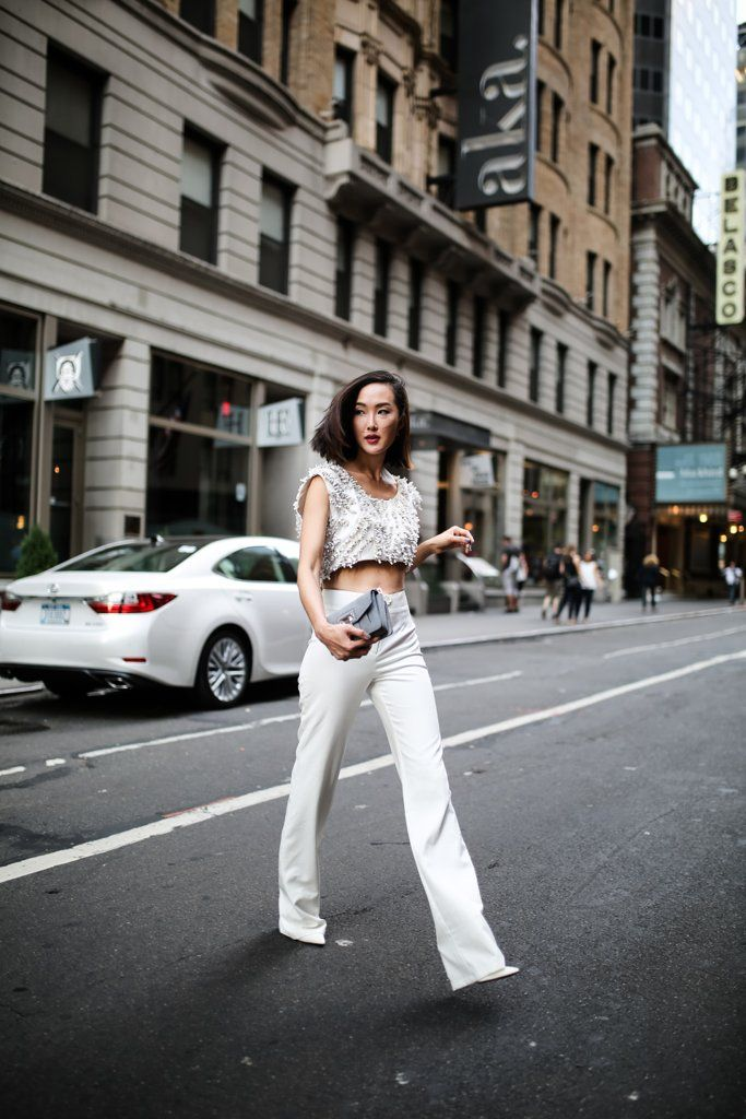 A sleek high-waisted trouser with an embellished crop top still reads semicasual or formal.