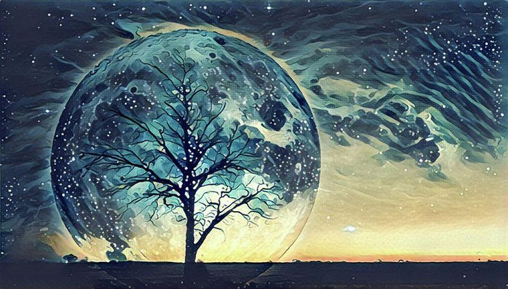 Fantasy landscape Illustration artwork - Lonely bare tree silhouette with huge planet rising behind it and galaxy in the sky.
