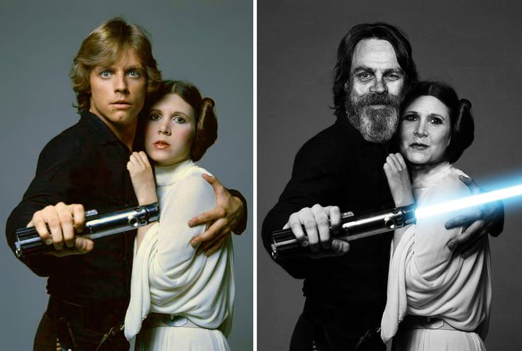 Mark Hamill And Carrie Fisher As Luke Skywalker And Princess Leia, 1977 And 2015