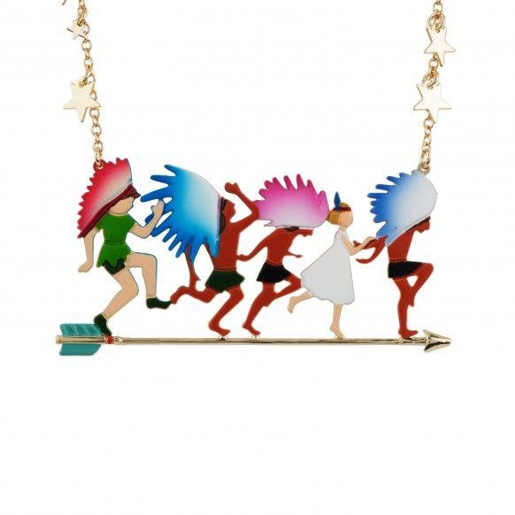 """Les Néréides - collection """"Envole-moi"""" - Collier Peter Pan et Wendy à la file indienne"""