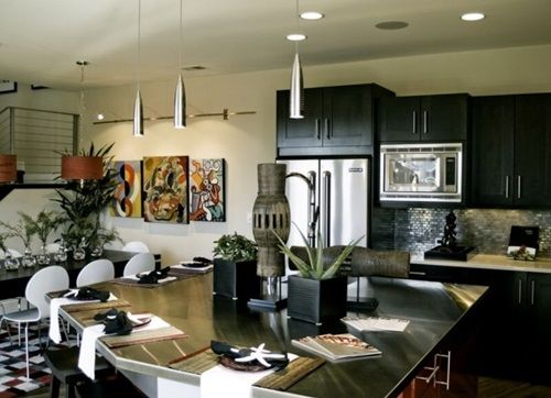 kitchens featuring black kitchen cabinets in modern styles - Modern Black Kitchen Cabinets