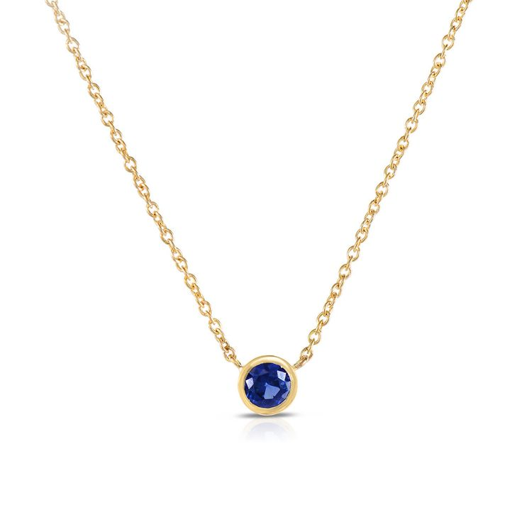 This 14k solid gold blue sapphire necklace is simply elegant. Made with an excellent cut round 2.8mm sapphire in a tube bezel setting for a sweet touch of charm day or night