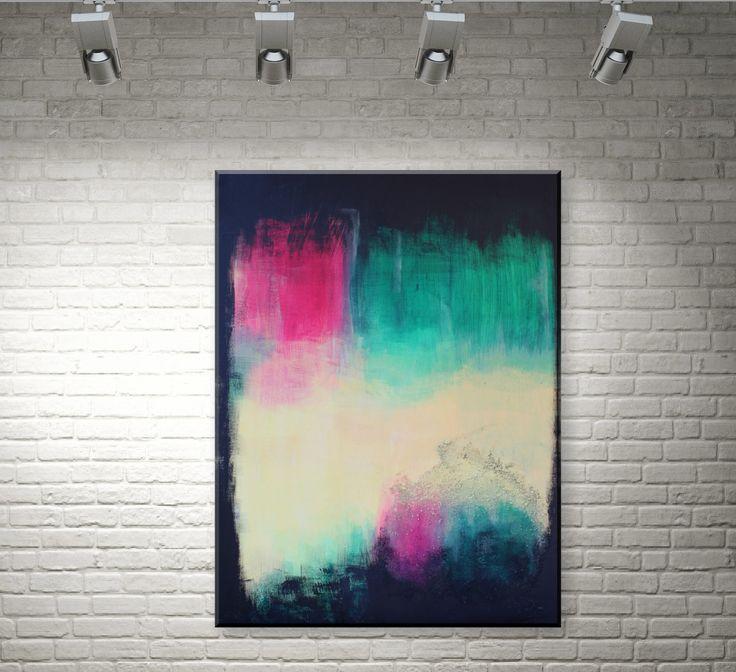 """""""Spotlight"""" ist ein auffälliges Bild mit sehr präsenten Neon-Farben (Magenta, Chromoxidgrün). Durch das umgebende schwarz leuchten die Farben umso mehr.  #AbstrakteKunst #AbstrakteMalerei #AbstractArt #painting #art #artist #kunst #künstler #fineart #artwork #modernabstract #abstractexpressionism #contemporaryart"""