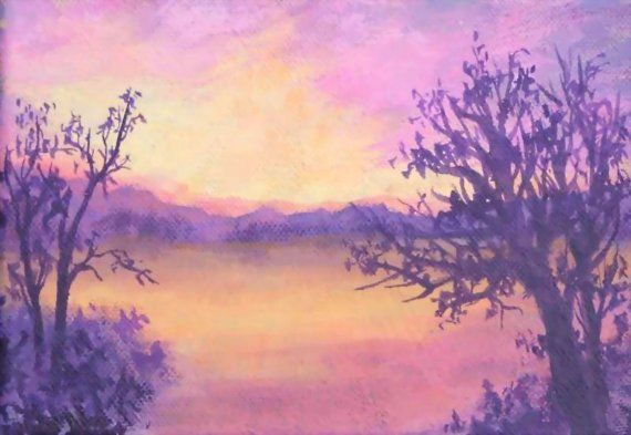 Mountain Winter Sunset Reflections Lake Waters by PatAdamsArt, $65.00. Available paintings can be seen in my Etsy Store at: https://www.etsy.com/shop/PatAdamsArt