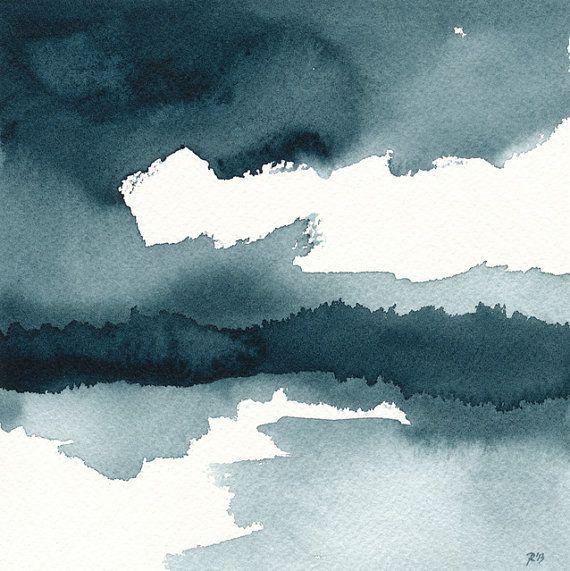 Etsy - Original Watercolor Painting - Indigo Blue $35