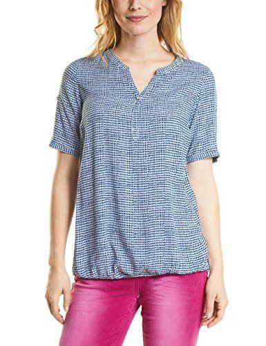 Cecil Damen Bluse 340846 Juliane Weiß (White 30000) Medium. Bluse mit  allover Grafikprint. Mit länger geschnittenem Rückenteil. Turn Up Funk… 73fffd0b89