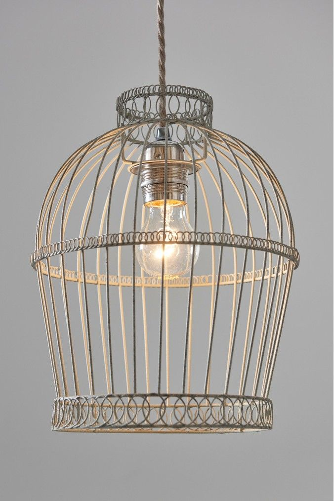 Next Aviary Cage Easy Fit Pendant Grey Ceiling Lights Copper Lighting