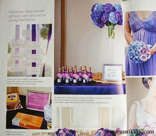 Viimeisin HÄÄT-lehti, tein hääjuhlan tekstaukset violetin ja kullan sävyillä. Ihana projekti!  Wedding magazine, I made wedding lettering/calligraphy for a sample dinner...