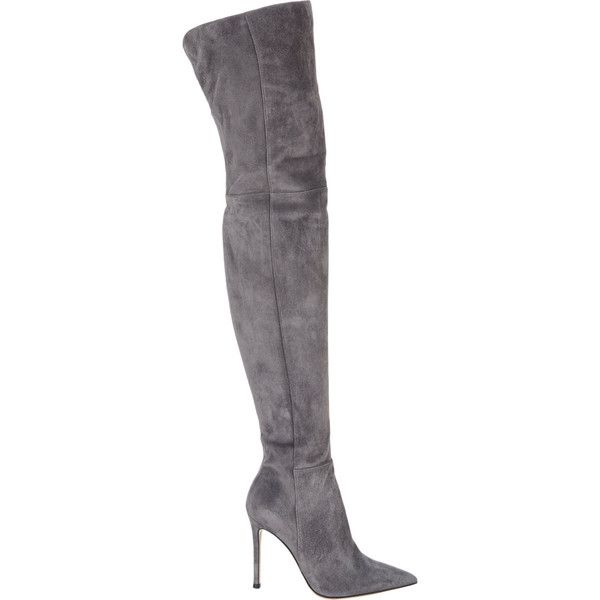 """Gianvito Rossi Lapis (dark grey) suede cuissard boots. 4"""" (100mm) heel, approximately. 24"""" shaft; 16"""" circumference (approximately) Boots pullover knee and res…"""