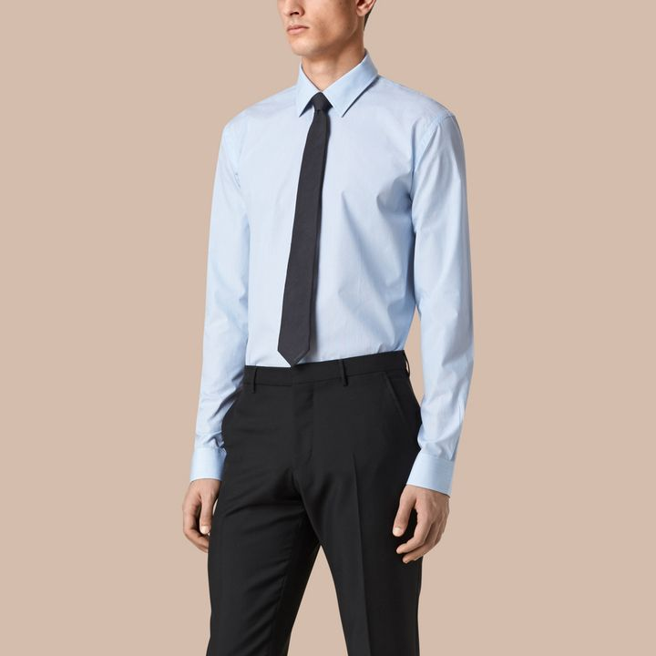 Burberry Modern Fit Striped Cotton Poplin Shirt.