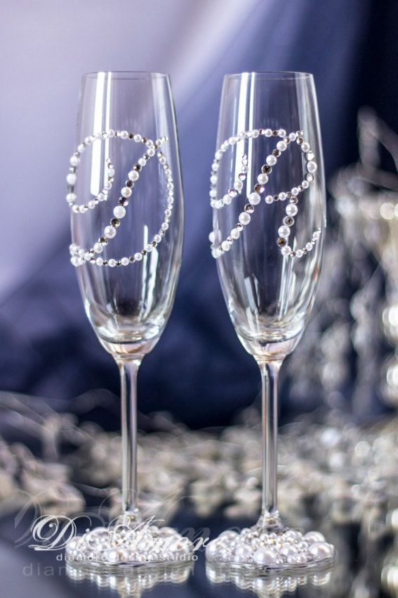 Personalized Wedding Glasses Toasting Flutes Monogram by DiAmoreDS