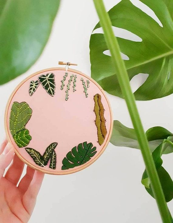 Tropical Leaves On Pink Hand Embroidered Hoop Art Embroidery Personalised Gift Cactus Wall Hanging Indoor P Embroidery Leaf Embroidery Hoop Wall Hoop Art This pattern requires basic embroidery knowledge and is considered moderate in skill level. pinterest