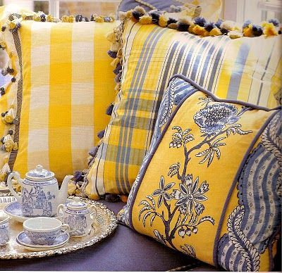 Reminds Me Of All The Yellow And Blue Fabric When I Was