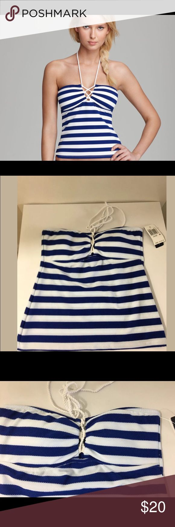 Ralph Lauren Blue Label Tankini Medium RALPH LAUREN BLUE LABEL CAPRI STRIPE LACED TANKINI BATHING SUIT TOP  SIZE MEDIUM  BLUE AND WHITE STRIPED..  TOP IS BANDEAU HALTER TIE AROUND NECK TANK STYLE WITH BLUE AND WHITE STRIPES..ALSO HAS REMOVABLE INNER PADS..   VERY VERY CUTE!!!!  BRAND NEW WITH TAGS.. Ralph Lauren Blue Label Swim Bikinis