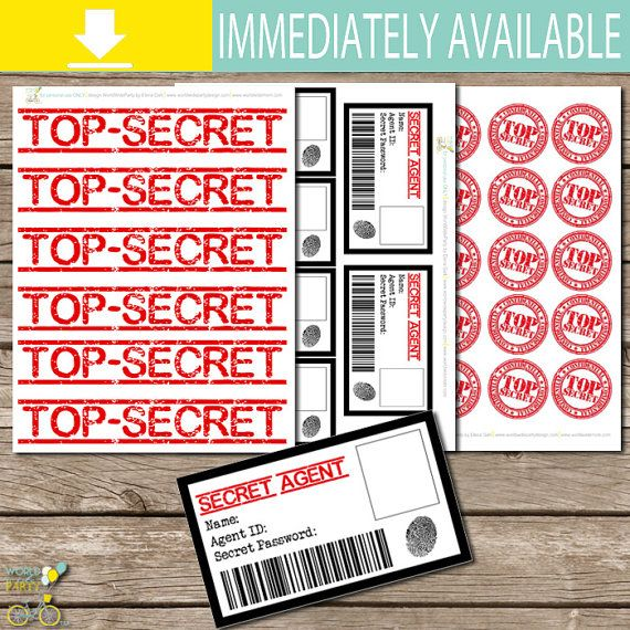 Welcome to WorldWideParty Design! This listing is for 3 PDF pages (8,5x11 in): 1. TOP SECRET labels, TOP SECRET toppers/stamps, and SPY ID