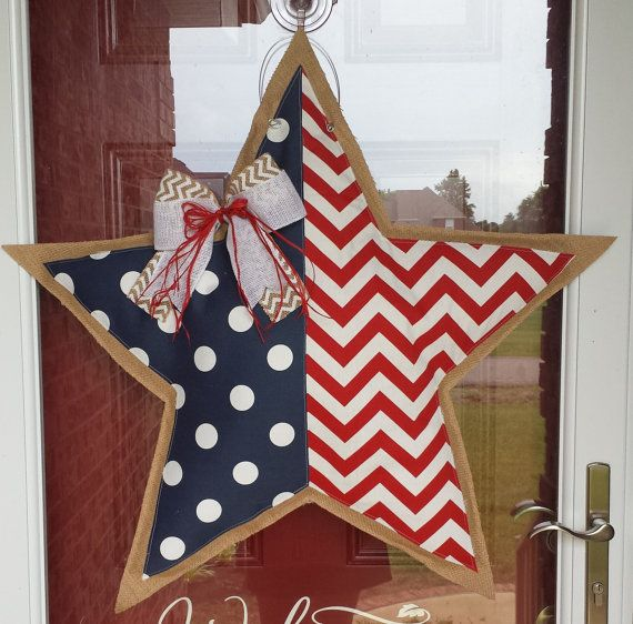 Red White and Blue American Flag Star Door Hanger by LoopDLoos