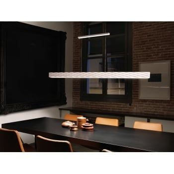 A modern rise and fall ceiling pendant bar made in polyurethane in a matte white finish. Lightweight, noncorrosive and easy to clean, this is perfect for a modern kitchen. Featuring 2 integral LED light sources which focus the light upwards and downwards for a bright illumination. Using only 40 watts of energy and producing 3840 lumens, this is an energy efficient solution to brightly illuminate even large rooms.