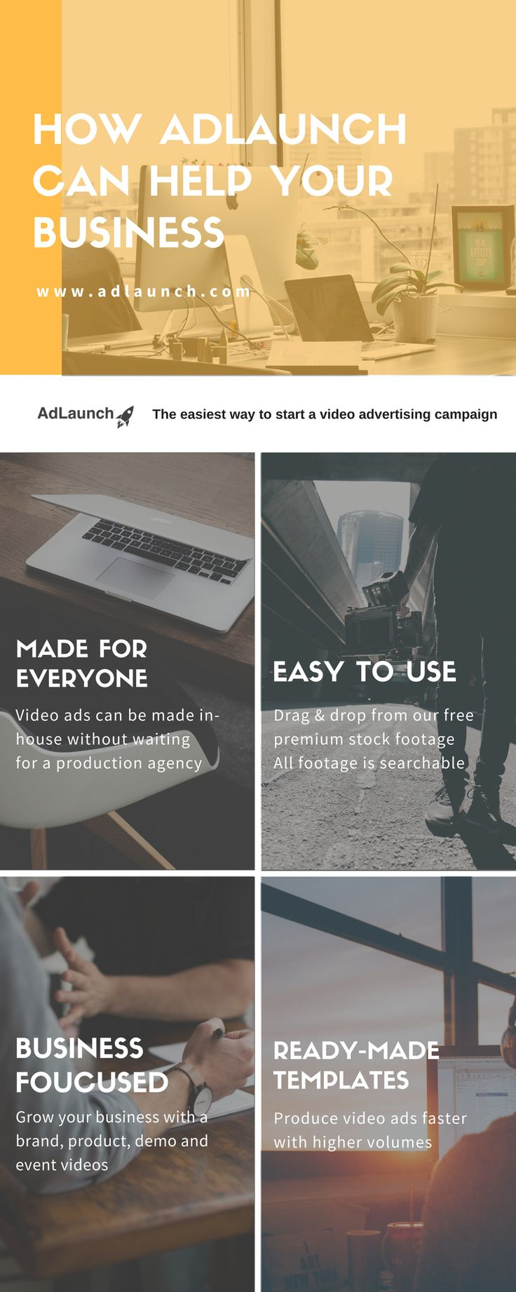 "Finding low-cost solutions for making ""unlimited"" video ads!  We believe AdLaunch is the right solution for your business.  Sign up for FREE at www.adlaunch.com"