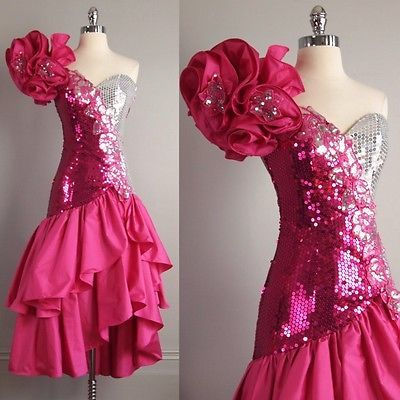vtg 80s Alyce Pink Silver SEQUIN PROM DRESS ruffles Avant Garde glam Cha CHA XS