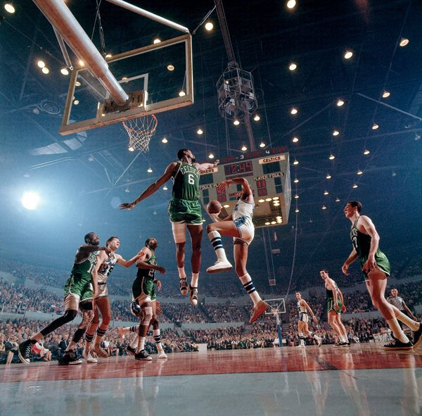 Bill Russell (Boston Celtics) and Elgin Baylor (LA Lakers) (1965) by Walter Iooss Jr.