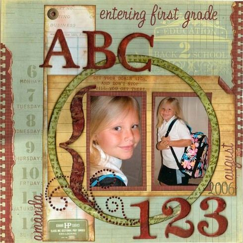 "Entering First Grade ""ABC"" vintage school scrapbook layout...Graphic 45.  By gine - A Cherry On Top."