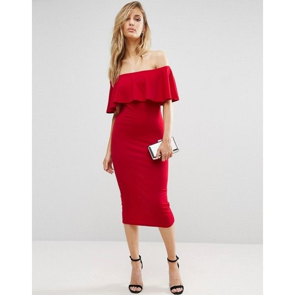 Club L Bardot Midi Dress With Frill Overlay ($31) ❤ liked on Polyvore featuring dresses, red, red body con dress, red midi dress, red bodycon dress, tall dresses and calf length dresses