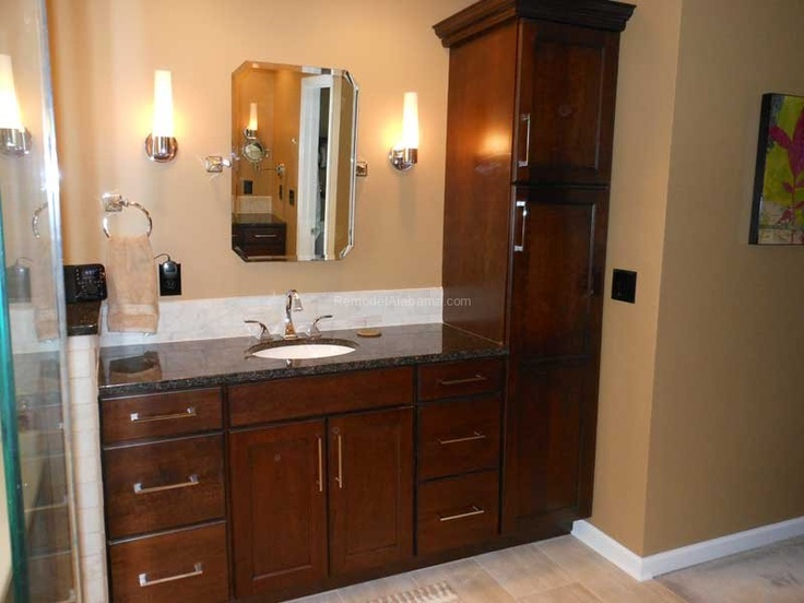 tall linen cabinet and bathroom vanity   bathroom linen tower Home Design Photos. 1000  images about Bathroom Makeovers on Pinterest   Shaker style
