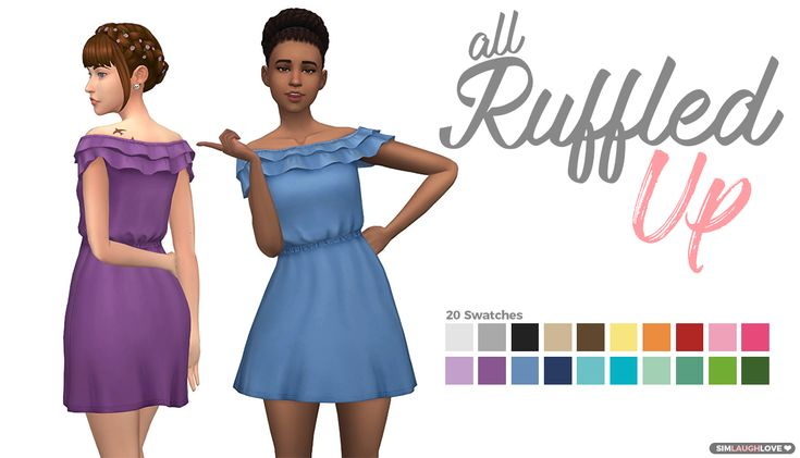All Ruffled Up - I love ruffles! So, naturally I was going to do something with the top that came with the Laundry Day stuff pack!  [[MORE]]Information: • The Sims 4 • 20 swatches • Short Dress...