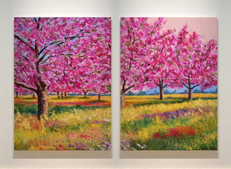 Moduļa glezna «Pavasaris» - diptihs dzīvojamā istabā