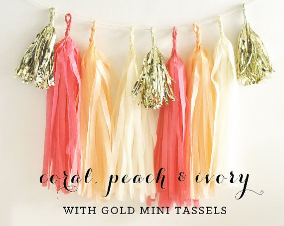Hey, I found this really awesome Etsy listing at https://www.etsy.com/listing/220477536/coral-and-gold-wedding-decorations-coral