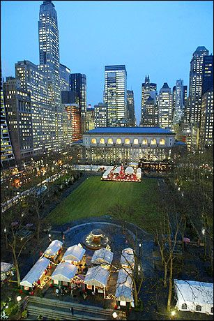Bryant Park--behind the main branch (5th avenue) of the NY Public Library.